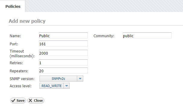 NetVizura Adding SNMP Policy